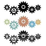 Group of connected gears vector illustration. Group of connected gears, in various colors, isolated vector illustration for easy editing royalty free illustration