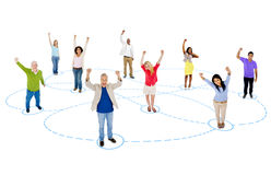 Group of Connected Multiethnic People Celebrating Stock Images
