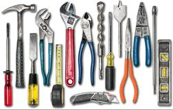 Group of construction tools on white. Isolated Stock Photos