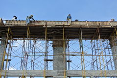 Group of construction worker fabricating beam formwork Stock Image