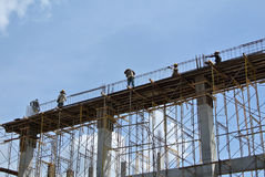 Group of construction worker fabricating beam formwork Royalty Free Stock Photos
