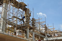 Group of construction worker fabricating column formwork Stock Images