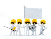 Group of construction workers/builders with tools and blank flag Royalty Free Stock Photo
