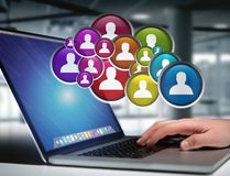Group of contact icon displayed on a technology interface background - Network and communication concept royalty free stock photos