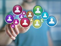 Group of contact icon displayed on a technology interface background - Network and communication concept stock photos