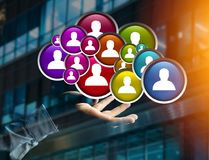 Group of contact icon displayed on a technology interface background - Network and communication concept stock photography