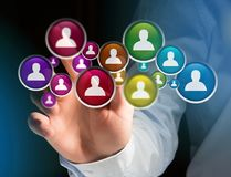 Group of contact icon displayed on a technology interface background - Network and communication concept royalty free stock photography