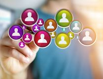 Group of contact icon displayed on a technology interface background - Network and communication concept royalty free stock image