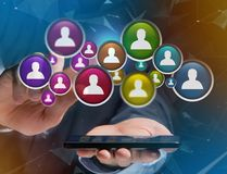 Group of contact icon displayed on a technology interface background - Network and communication concept royalty free stock photo