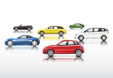 Group of Contemporary Cars Isolated on Background Stock Image
