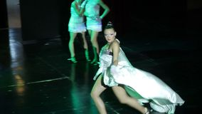 Group of contemporary dancers performing on stage stock video