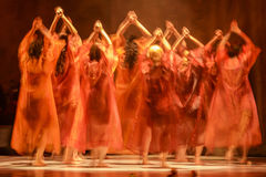 Group of contemporary dancers performing on stage Stock Image