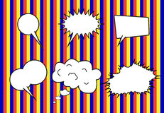 Group of conversation bubbles on  stripe  backgrounds Stock Images