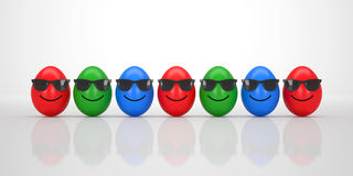 Group of cool Easter Eggs with black Sunglasses smiling Royalty Free Stock Image