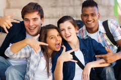 Group cool teenagers. Group of happy teenagers giving cool hand signs Royalty Free Stock Image