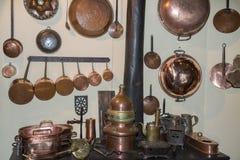 Group of Copper Kitchen Utensils: Cookware, Saucepans.  Stock Photo