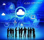 Group of Corporate People Discussing About Cloud Computing royalty free illustration