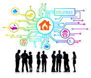 Group of Corporate People Discussing. About Different types of Insurance vector illustration