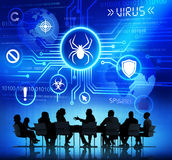 Group of Corporate People having a Meeting about Threat caused b. Y Viruses stock illustration