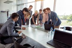Group of corporate people planning idea on business meeting stock image