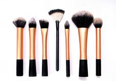Group of cosmetic brushes on white background Royalty Free Stock Photography