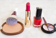 Group of cosmetics over marble background Stock Photography