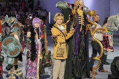 Group of cosplayers pose during cosplay contest  at Animefest Stock Images