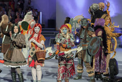 Group of cosplayers pose during cosplay contest  at Animefest Royalty Free Stock Photography