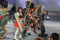 Group of cosplayers pose during cosplay contest  at Animefest Royalty Free Stock Images