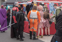 Group of cosplayers showing products at market royalty free stock photography