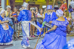 Group of costumed seniors marching at carnival of Uruguay Stock Photo