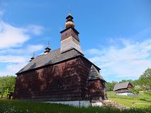 Ethnographic natural exposition - open-air museum in Stara Lubovna. The group of country houses in the open-air museum is reminiscent of a picturesque settlement stock photo