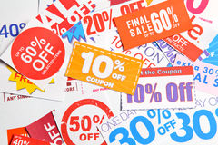 Group of coupon. Group of the discount coupon stock images