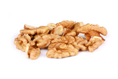 Group of Cracked Walnuts isolated Stock Photo