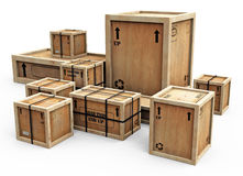 Group of crates on white Royalty Free Stock Photos