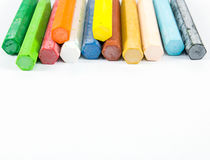 Group of crayon. On white background, colorful Stock Photo