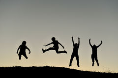 Group of crazy kids bouncing. Jump dynamic;group of crazy kids bouncing Stock Images