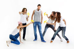 Group of crazy young people Stock Images