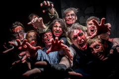 Group of crazy zombies Royalty Free Stock Image