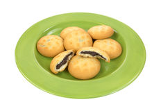 Group Cream Filled Cookies on Plate Royalty Free Stock Image