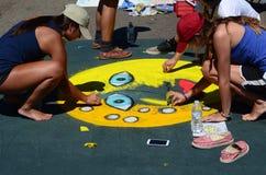 Group creates art Stock Image