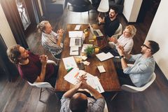 Group of creative managers work together modern coworking studio stock images