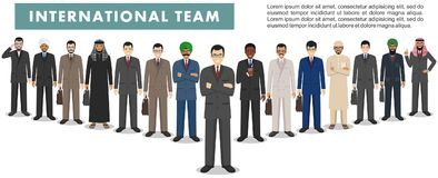 Group of businessmen standing together on white background in flat style. Business team and teamwork concept. Different Royalty Free Stock Photos