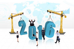 Group of creative workers with numbers 2016 Royalty Free Stock Photography