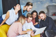 Group of creative young Friends Hanging Social Media Concept. People Together Discussing Creative Project During Work royalty free stock photos