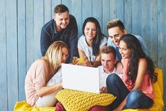 Group of creative young Friends Hanging Social Media Concept. People Together Discussing Creative Project During Work royalty free stock images