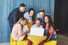 Group of creative young Friends Hanging Social Media Concept. People Together Discussing Creative Project During Work Stock Images