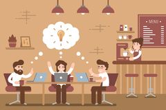 Group of creative young people working together in cafe vector illustration stock illustration