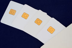 Group of credit card on the blue background. Modern technology Royalty Free Stock Image