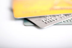 Group of credit cards on white backround Stock Photos